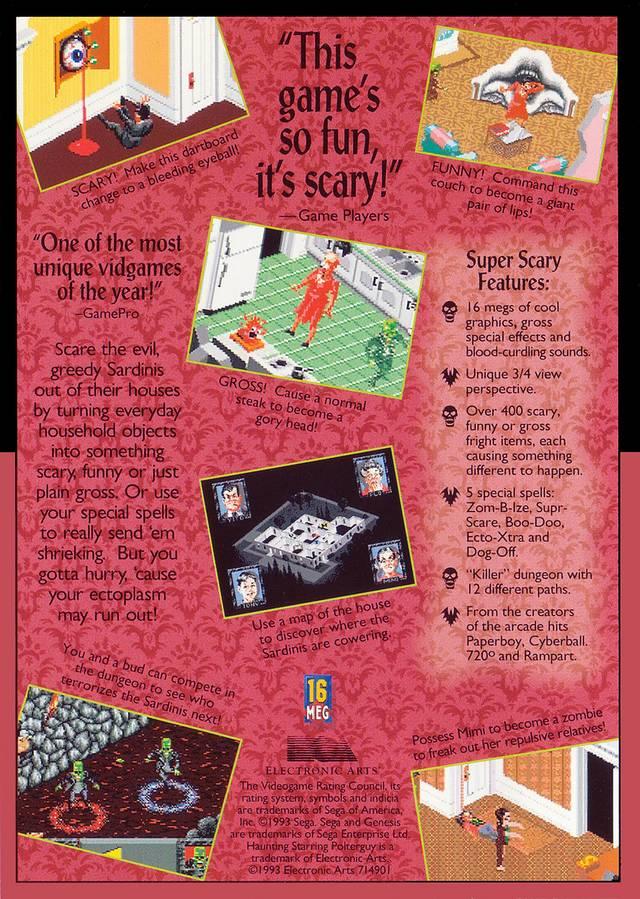 Back boxart of the game Haunting Starring Polterguy (United States) on Sega Megadrive