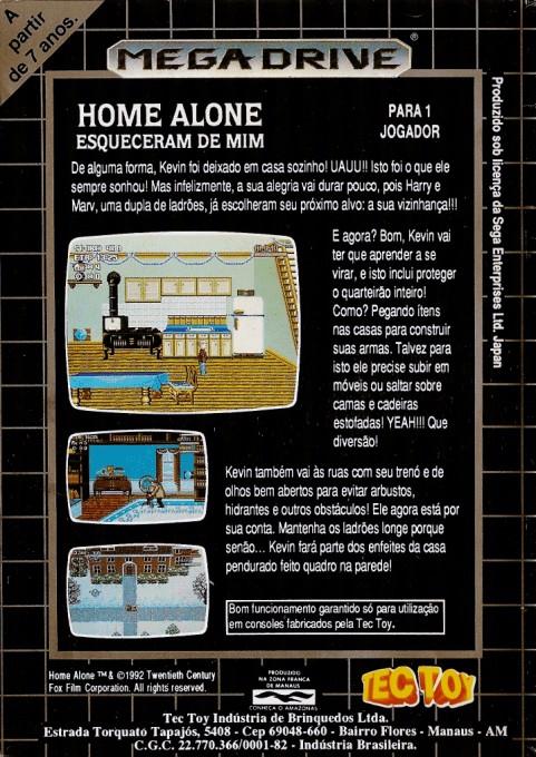 Back boxart of the game Home Alone (Brazil) on Sega Megadrive