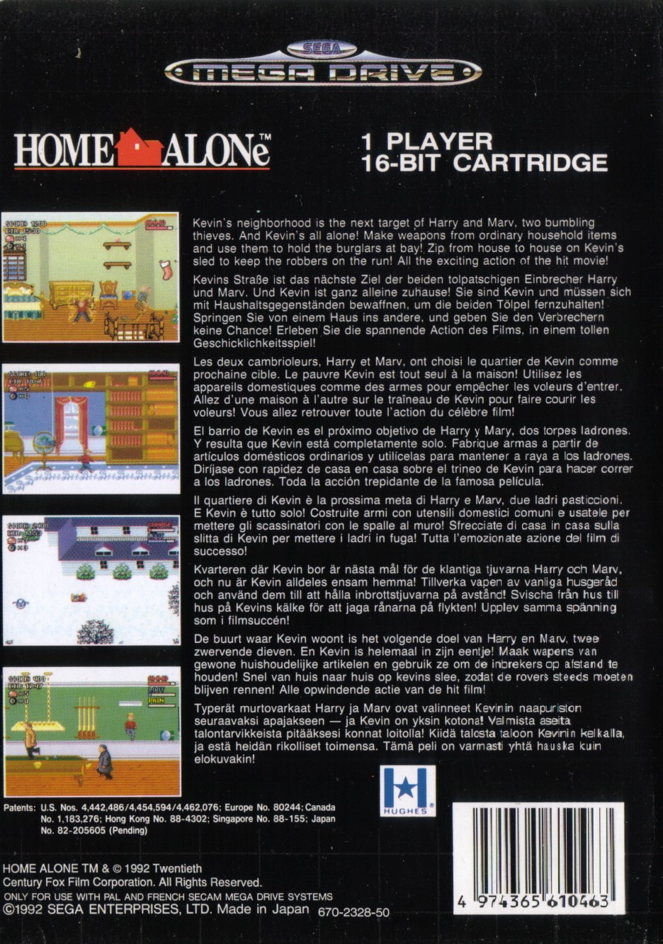 Back boxart of the game Home Alone (Europe) on Sega Megadrive