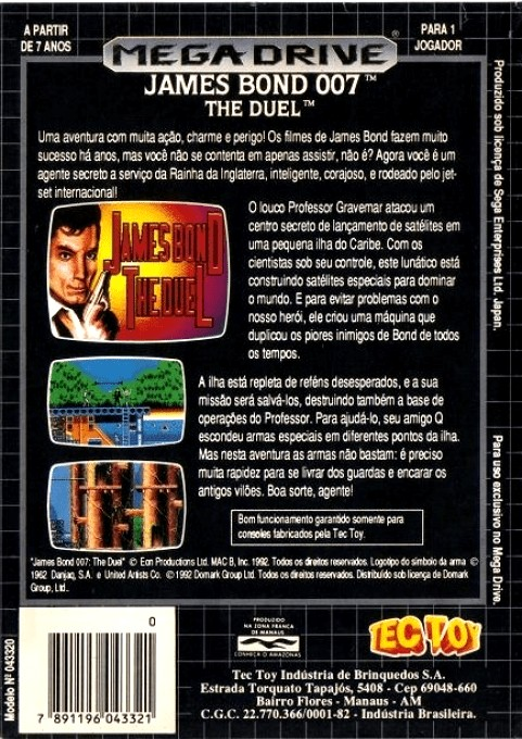 Back boxart of the game James Bond 007 - The Duel (Brazil) on Sega Megadrive