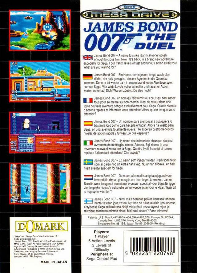 Back boxart of the game James Bond 007 - The Duel (Europe) on Sega Megadrive