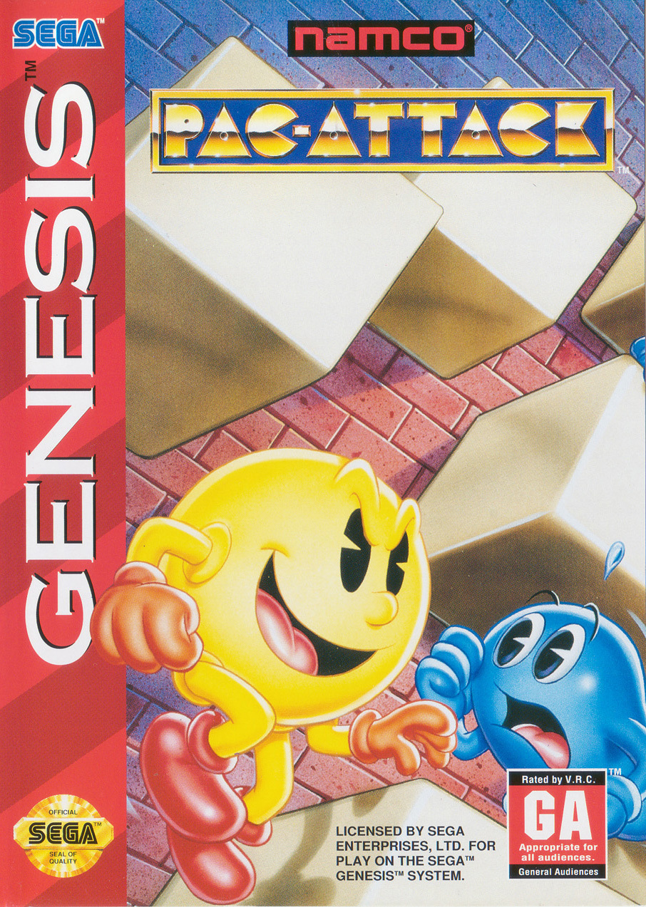 Front boxart of the game Pac-Attack (United States) on Sega Megadrive