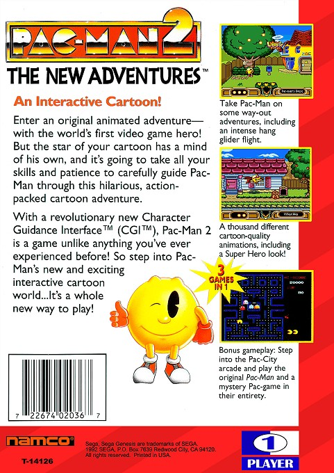 Back boxart of the game Pac-Man 2 - The New Adventures (United States) on Sega Megadrive