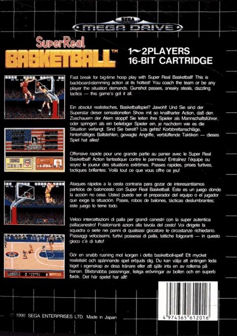 Back boxart of the game Pat Riley Basketball (Europe) on Sega Megadrive