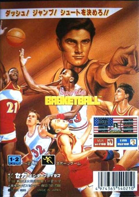 Back boxart of the game Pat Riley Basketball (Japan) on Sega Megadrive