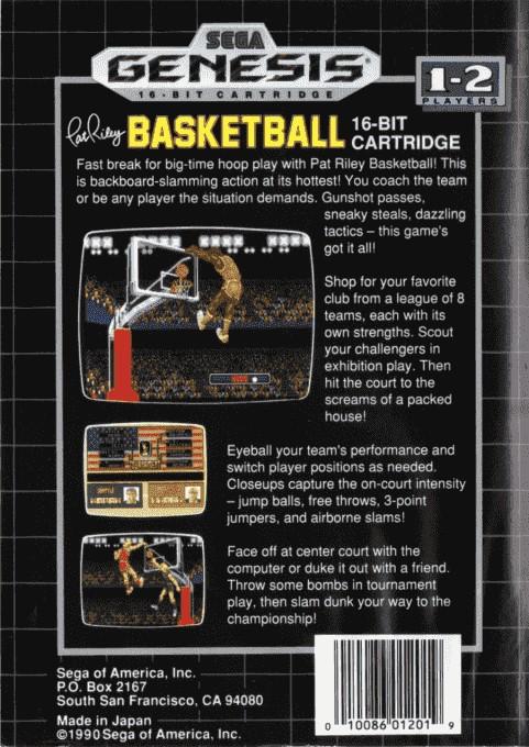 Back boxart of the game Pat Riley Basketball (United States) on Sega Megadrive
