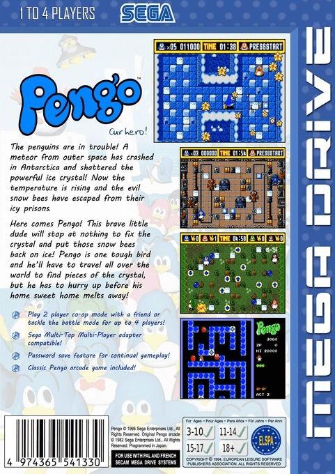 Back boxart of the game Pengo (Europe) on Sega Megadrive