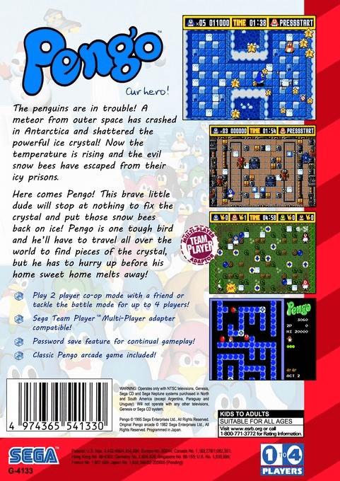 Back boxart of the game Pengo (United States) on Sega Megadrive