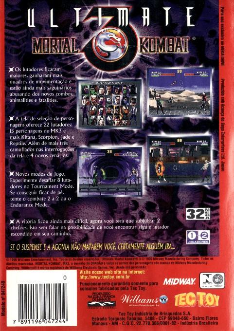 Back boxart of the game Ultimate Mortal Kombat 3 (Brazil) on Sega Megadrive