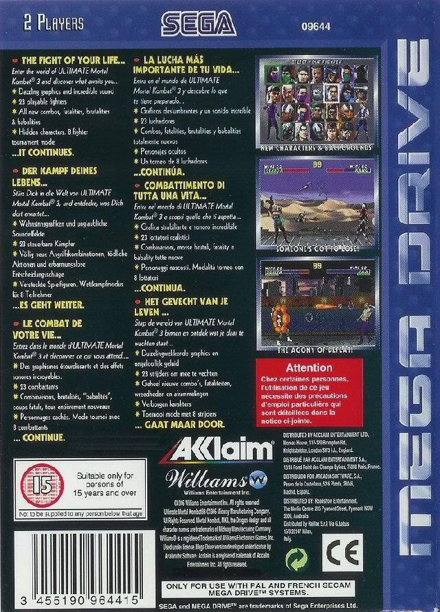 Back boxart of the game Ultimate Mortal Kombat 3 (Europe) on Sega Megadrive