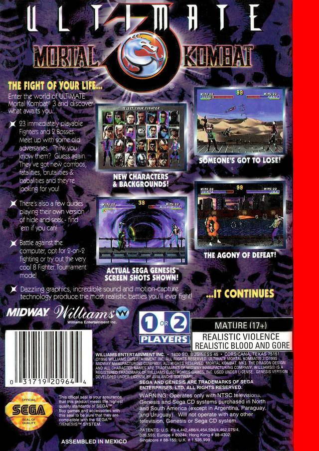 Back boxart of the game Ultimate Mortal Kombat 3 (United States) on Sega Megadrive