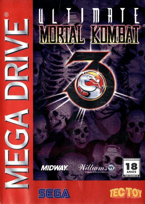 Front boxart of the game Ultimate Mortal Kombat 3 (Brazil) on Sega Megadrive