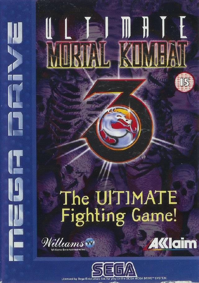 Front boxart of the game Ultimate Mortal Kombat 3 (Europe) on Sega Megadrive