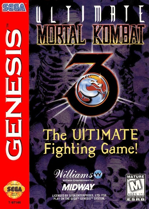 Front boxart of the game Ultimate Mortal Kombat 3 (United States) on Sega Megadrive