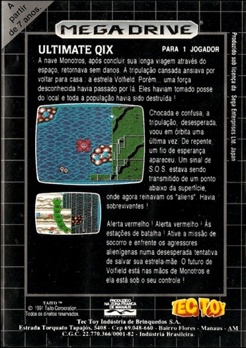 Back boxart of the game Ultimate Qix (Brazil) on Sega Megadrive