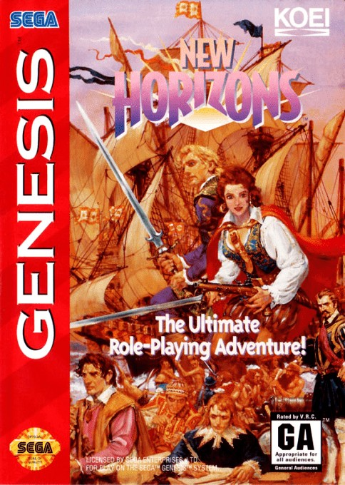 Front boxart of the game Uncharted Waters - New Horizons (United States) on Sega Megadrive