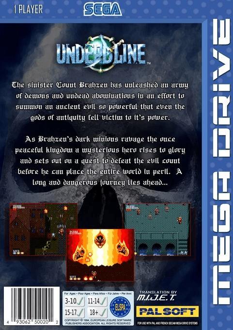 Back boxart of the game Undead Line (Europe) on Sega Megadrive