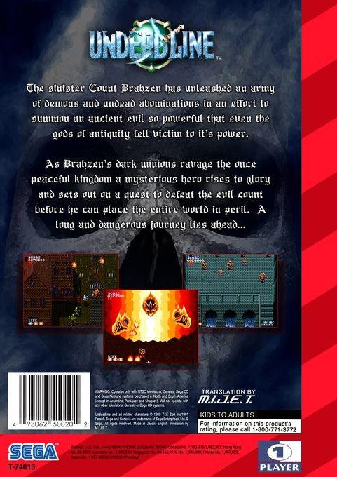 Back boxart of the game Undead Line (United States) on Sega Megadrive