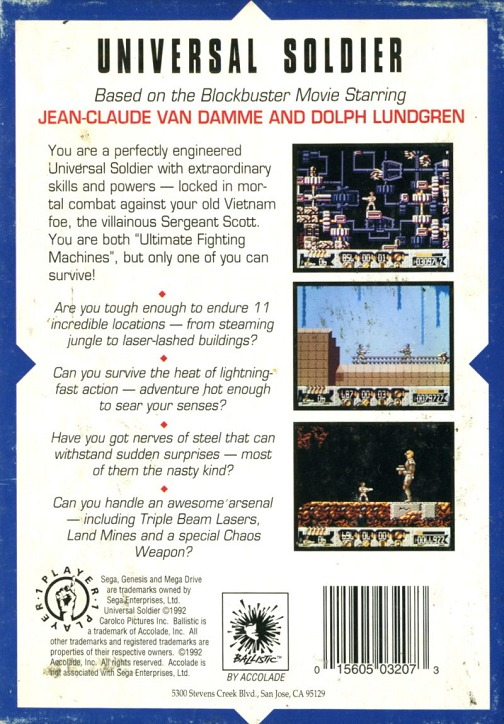 Back boxart of the game Universal Soldier (Europe) on Sega Megadrive