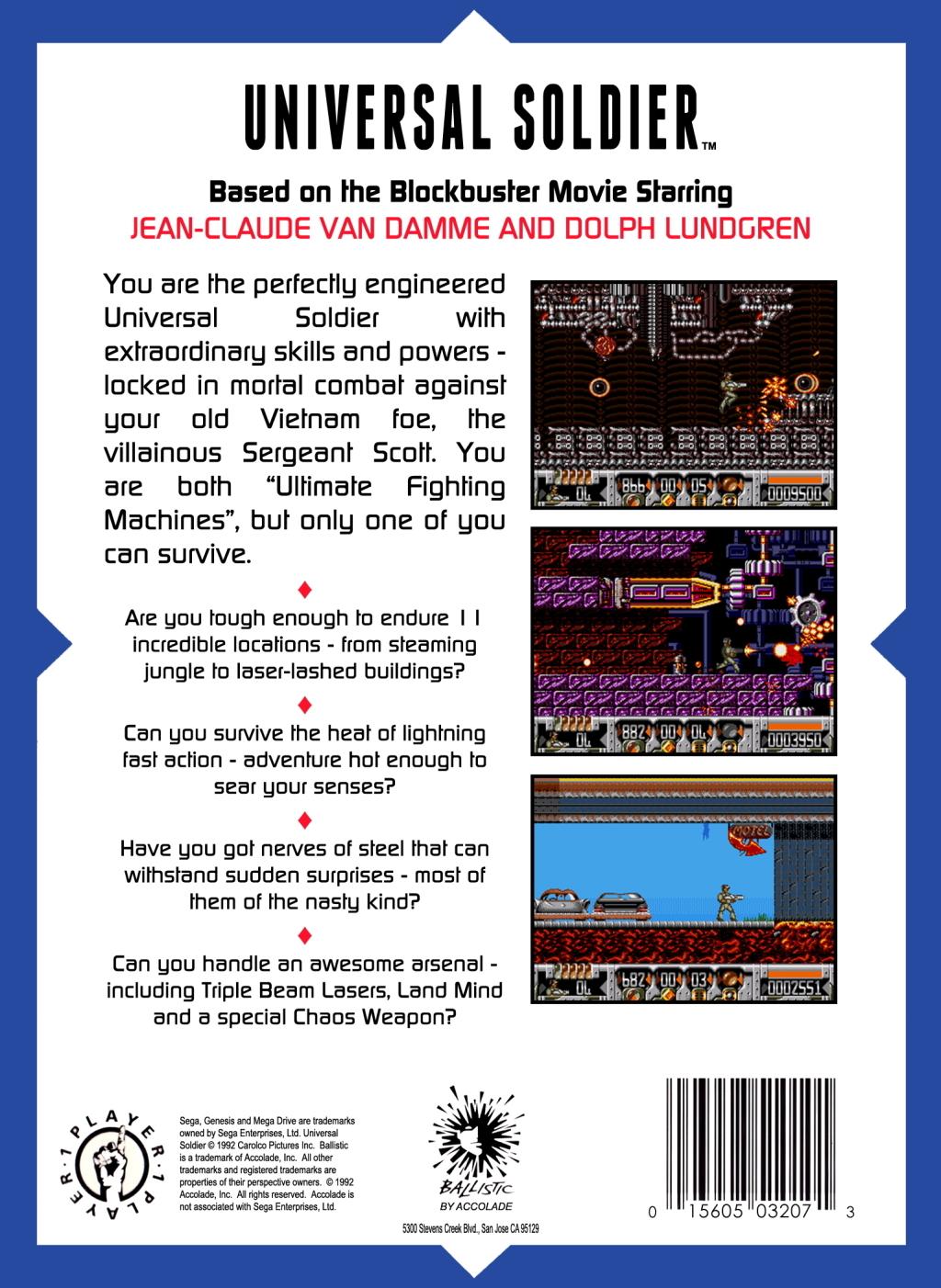Back boxart of the game Universal Soldier (United States) on Sega Megadrive