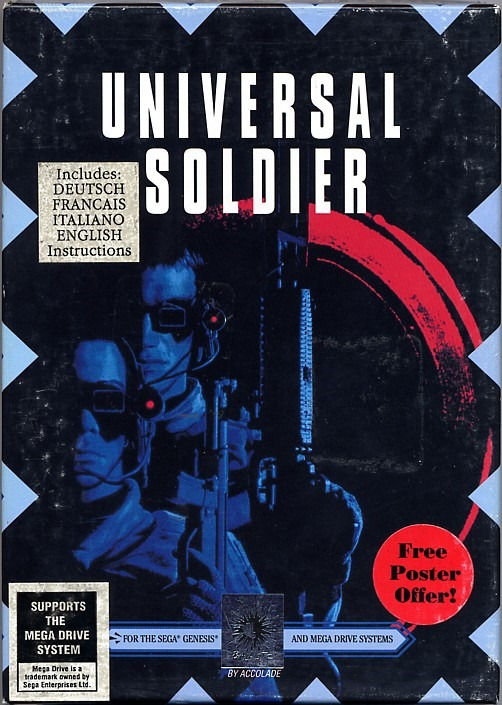 Front boxart of the game Universal Soldier (Europe) on Sega Megadrive