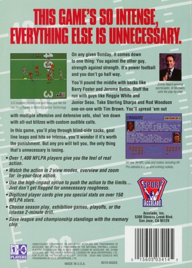 Back boxart of the game Unnecessary Roughness 95 (United States) on Sega Megadrive