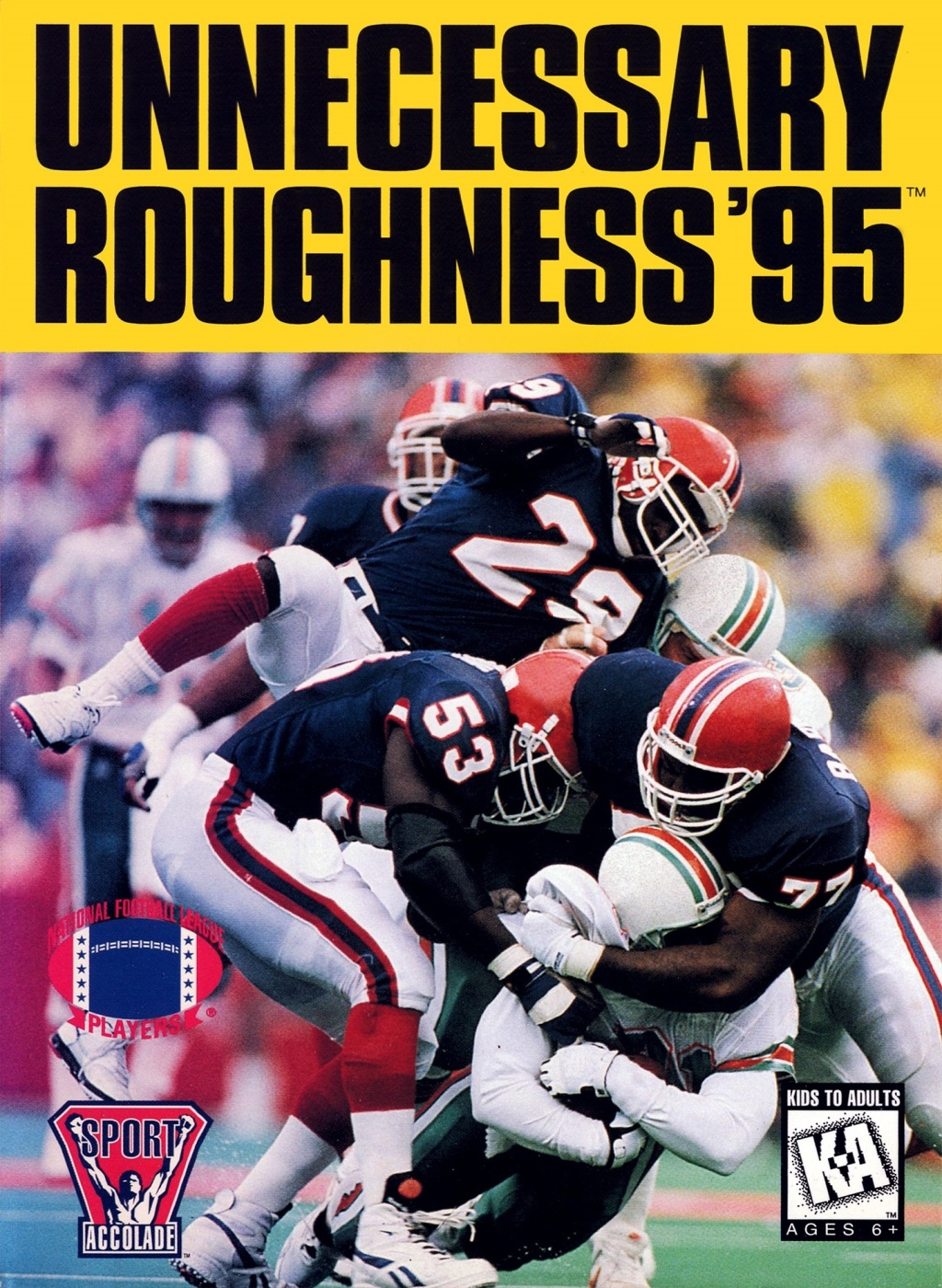 Front boxart of the game Unnecessary Roughness 95 (United States) on Sega Megadrive