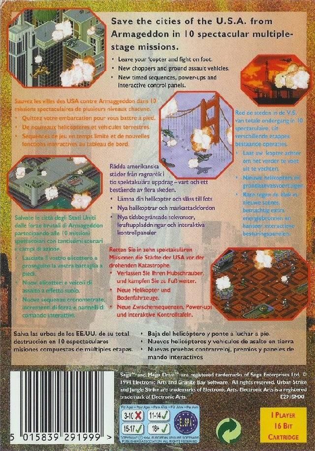Back boxart of the game Urban Strike (Europe) on Sega Megadrive
