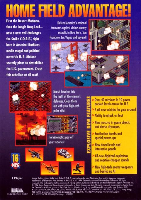 Back boxart of the game Urban Strike (United States) on Sega Megadrive