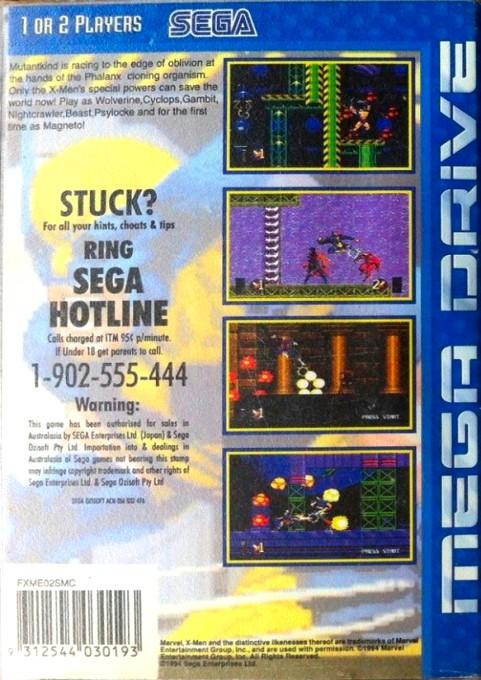 Back boxart of the game X-Men 2 - Clone Wars (Australia) on Sega Megadrive