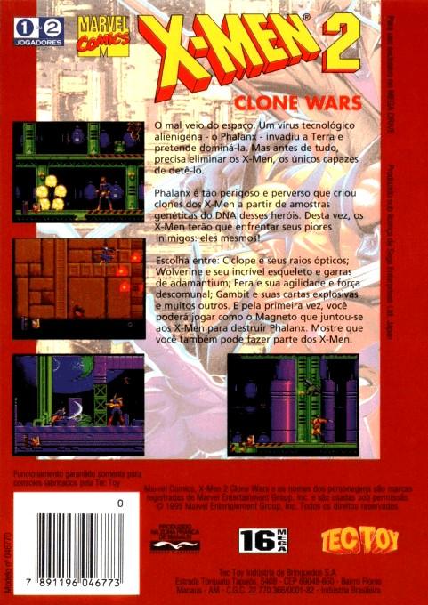 Back boxart of the game X-Men 2 - Clone Wars (Brazil) on Sega Megadrive