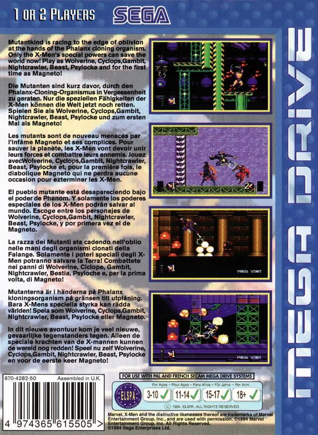 Back boxart of the game X-Men 2 - Clone Wars (Europe) on Sega Megadrive