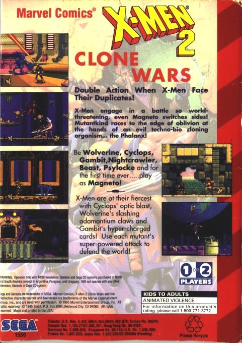 Back boxart of the game X-Men 2 - Clone Wars (United States) on Sega Megadrive