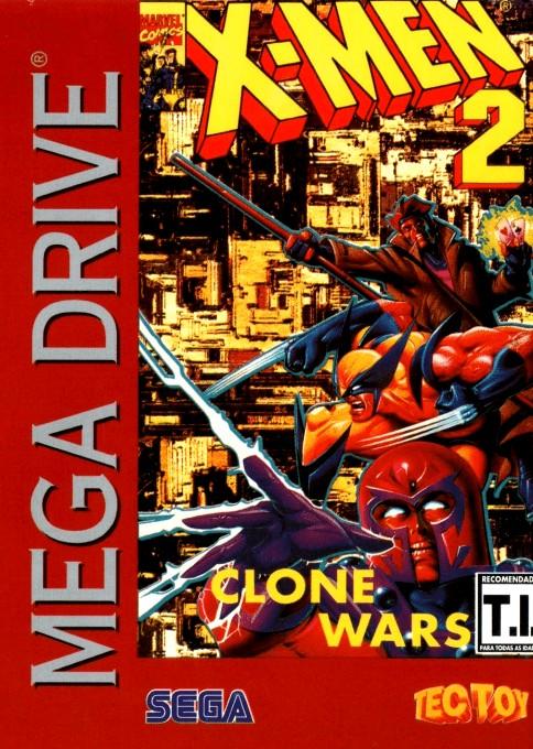 Front boxart of the game X-Men 2 - Clone Wars (Brazil) on Sega Megadrive