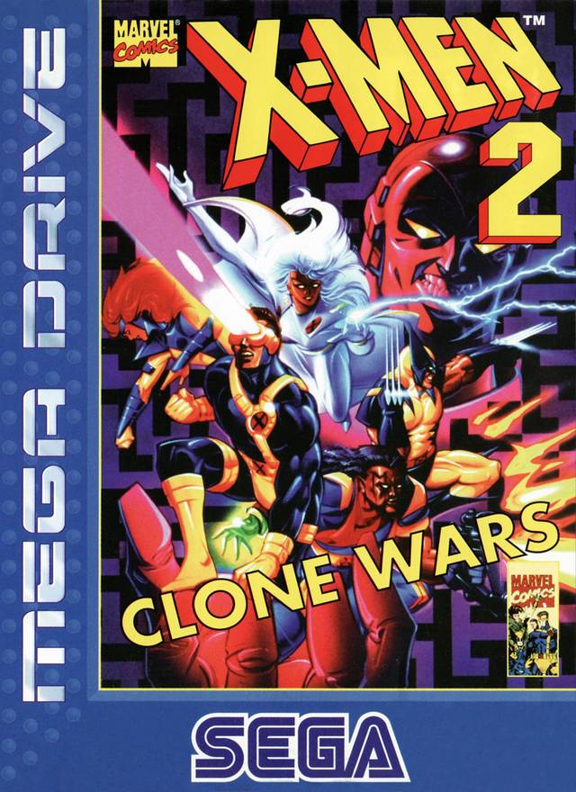 Front boxart of the game X-Men 2 - Clone Wars (Europe) on Sega Megadrive
