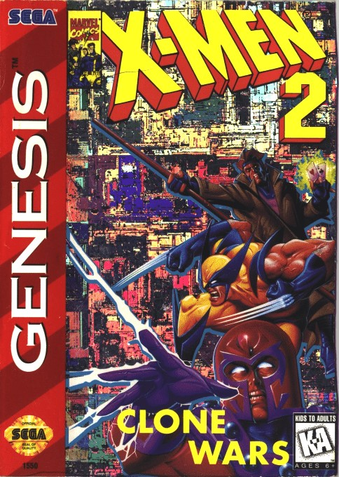 Front boxart of the game X-Men 2 - Clone Wars (United States) on Sega Megadrive