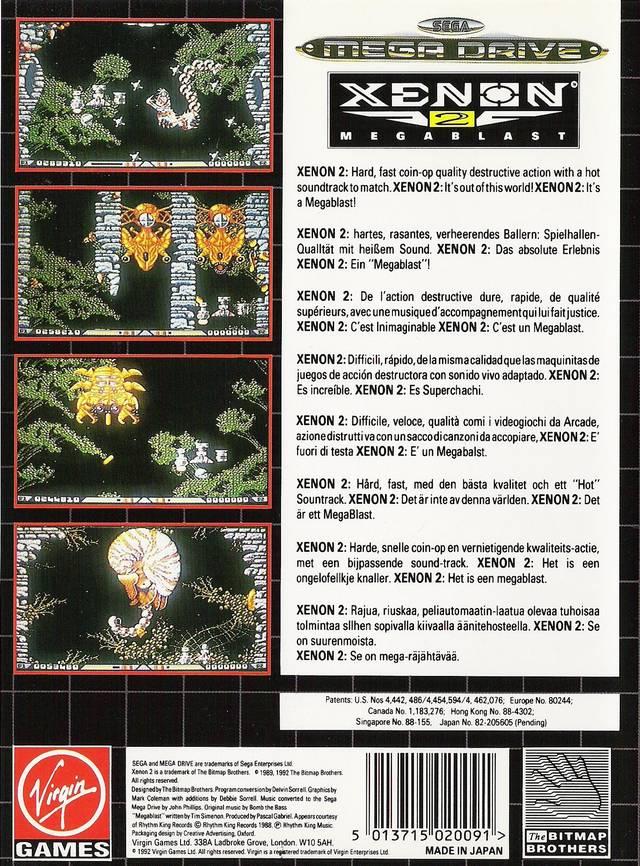 Back boxart of the game Xenon 2 - Megablast (Europe) on Sega Megadrive