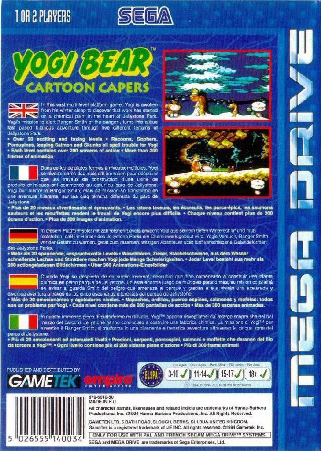 Back boxart of the game Yogi Bear's Cartoon Capers (Europe) on Sega Megadrive