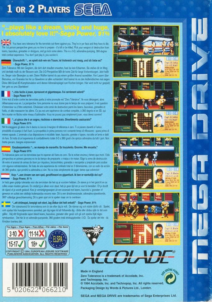 Back boxart of the game Zero Tolerance (Europe) on Sega Megadrive