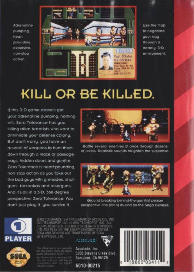 Back boxart of the game Zero Tolerance (United States) on Sega Megadrive
