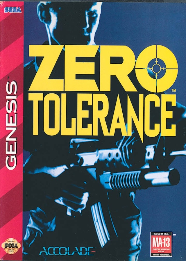 Front boxart of the game Zero Tolerance (United States) on Sega Megadrive