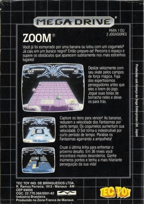 Back boxart of the game Zoom! (Brazil) on Sega Megadrive