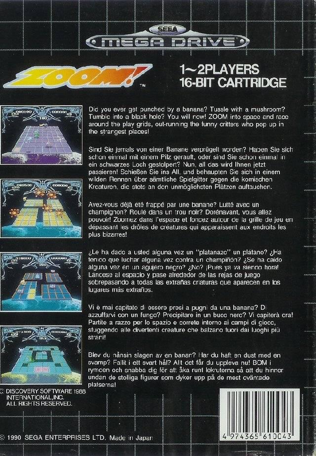 Back boxart of the game Zoom! (Europe) on Sega Megadrive