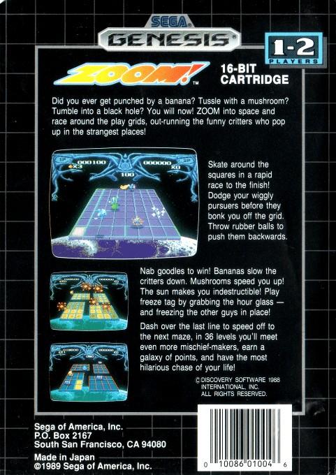 Back boxart of the game Zoom! (United States) on Sega Megadrive