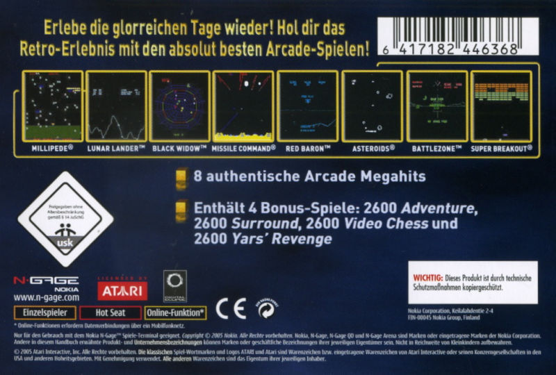 Back boxart of the game Atari Masterpieces Vol. I (Europe) on Nokia N-Gage