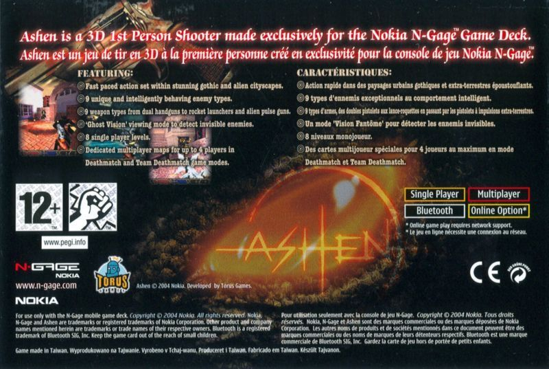 Back boxart of the game Ashen (Europe) on Nokia N-Gage