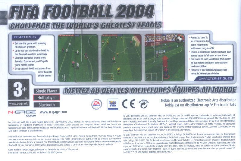 Back boxart of the game FIFA Football 2004 (Europe) on Nokia N-Gage