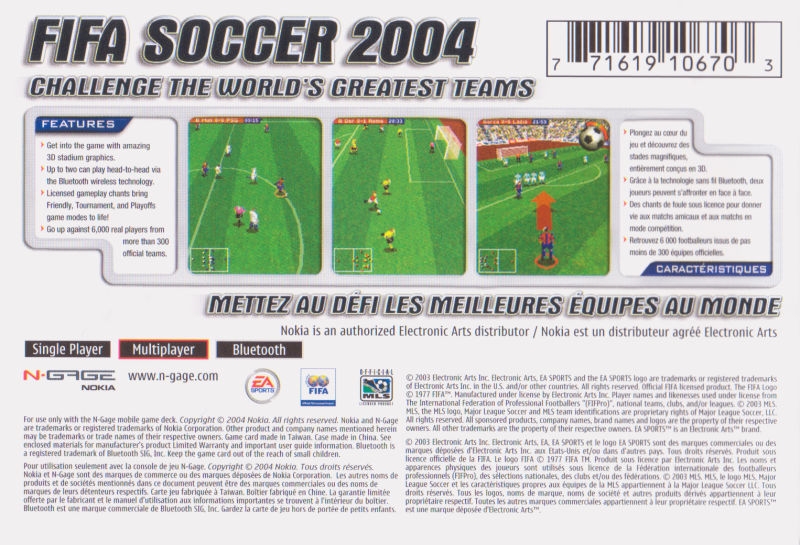 Back boxart of the game FIFA Football 2004 (United States) on Nokia N-Gage