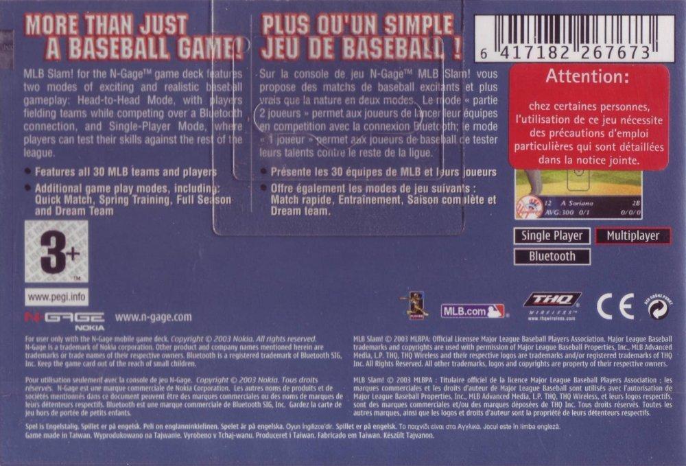 Back boxart of the game MLB Slam! (Europe) on Nokia N-Gage