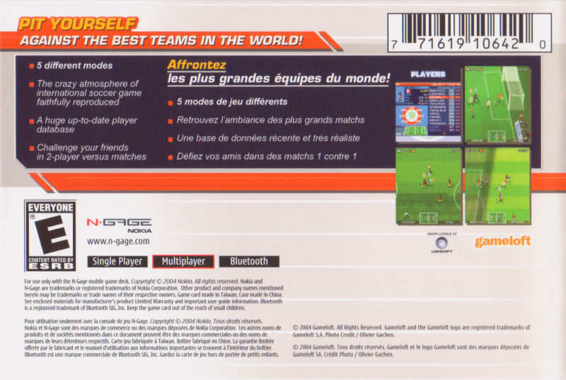Back boxart of the game Marcel Desailly Pro Soccer (United States) on Nokia N-Gage